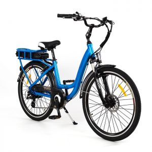 Chic electric bike in blue small frame low step through RooDog eBikes