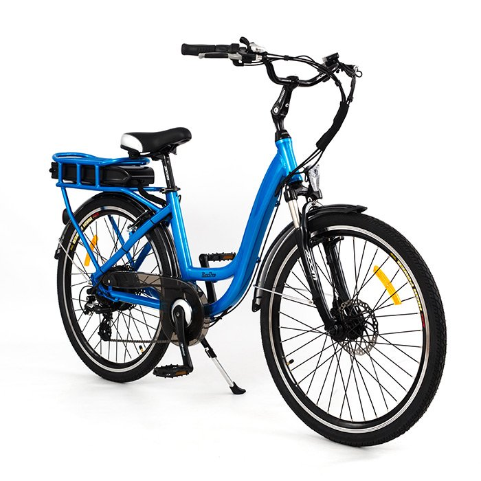 Chic electric bike in blue small frame low step through