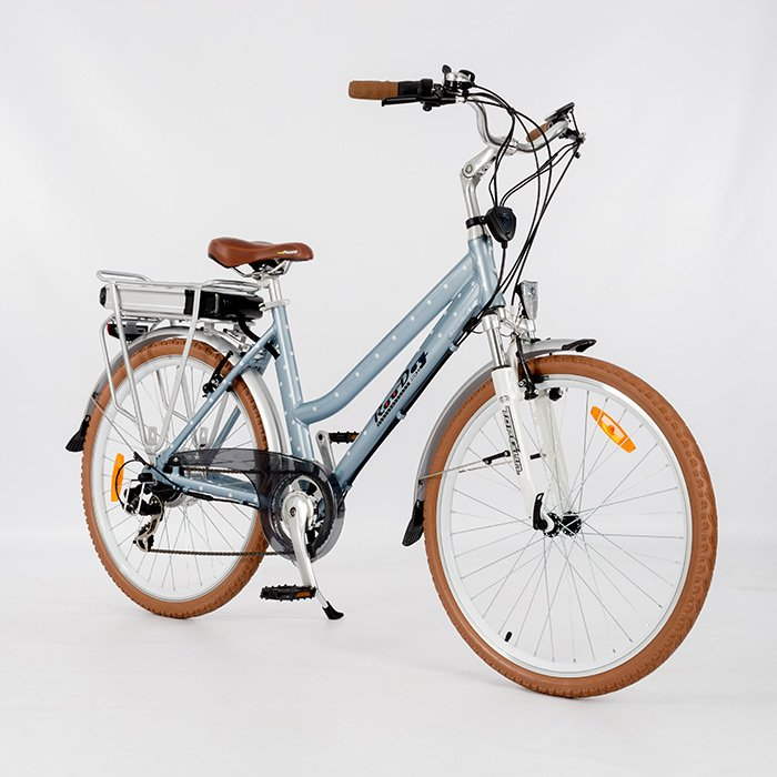 Polka Dot Ladies Electric Bike in blue from RooDog, Hornsea