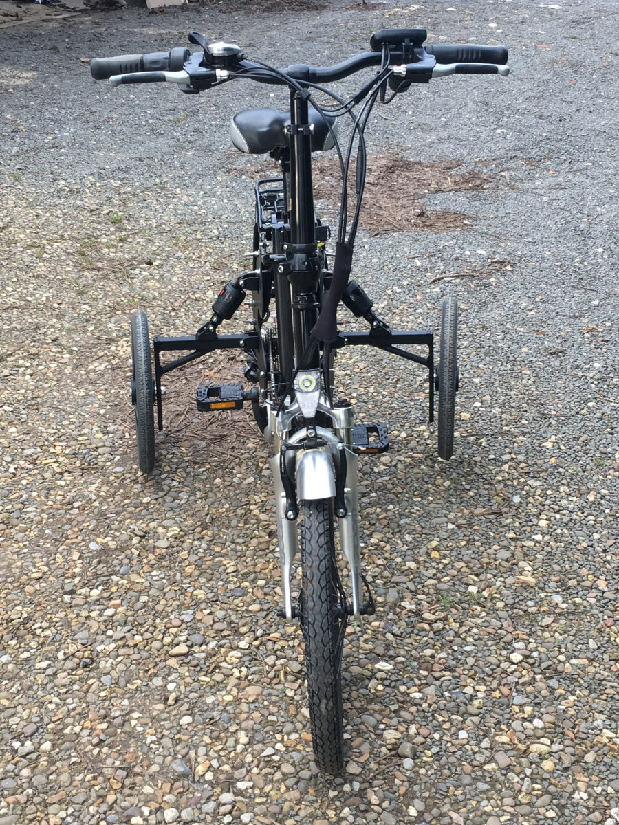 front -RooDog bliss electric bike with adult stabilisers